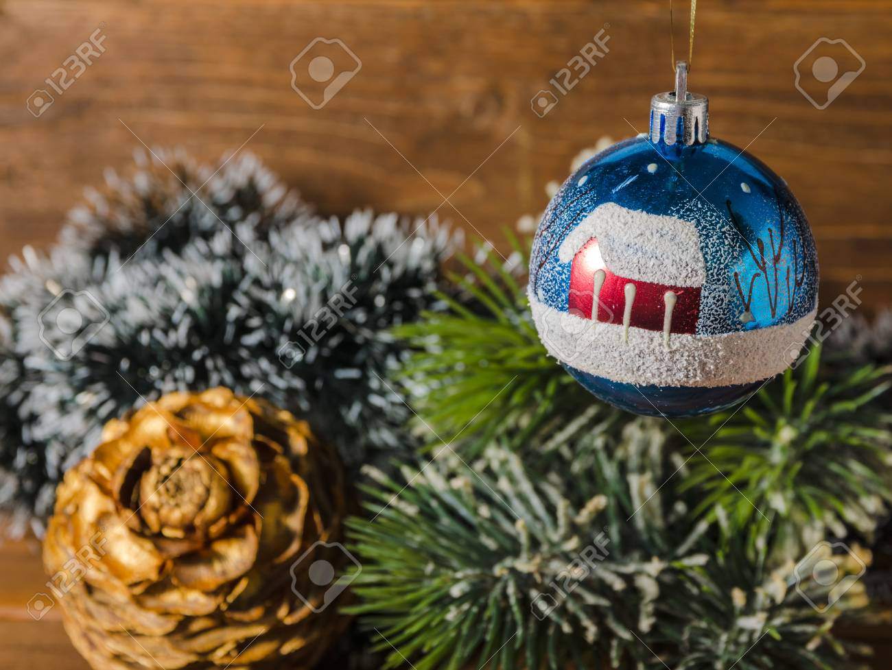 old fashioned christmas tree decorations stock photo 90091757