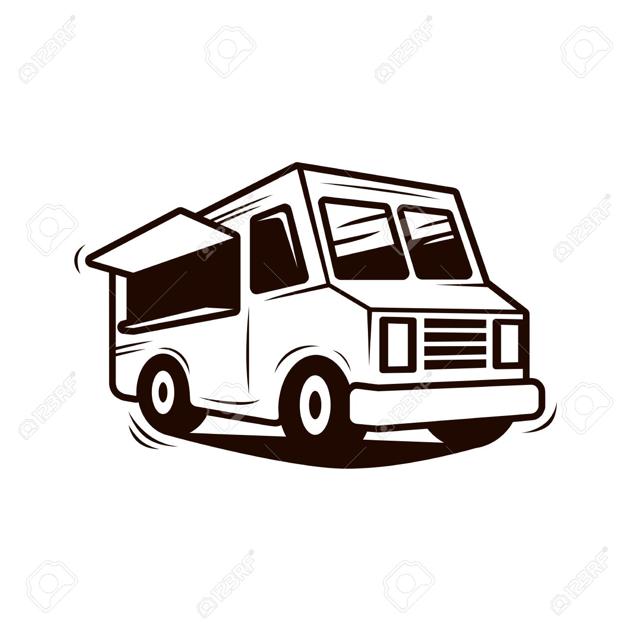 Food Truck Line Art Vector Stock