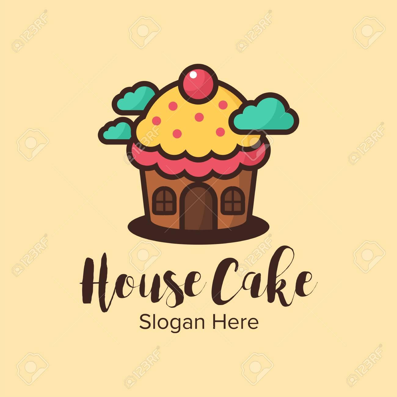 House Cake Logo Design Illustration Good For Logo On A Plain