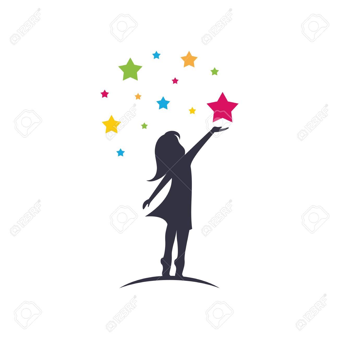 Little girl reach stars sillhouette logo template vector isolated on white background - 118732584