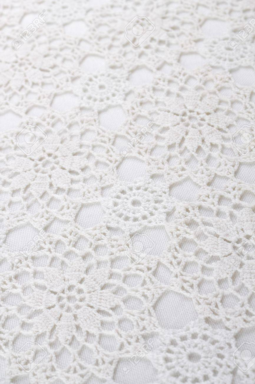 Stock Photo   White Lace Tablecloth As Background