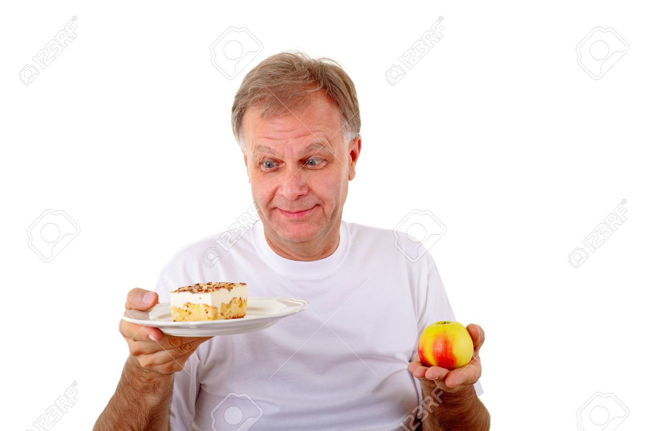 The choice-cake or apple Stock Photo - 16883793