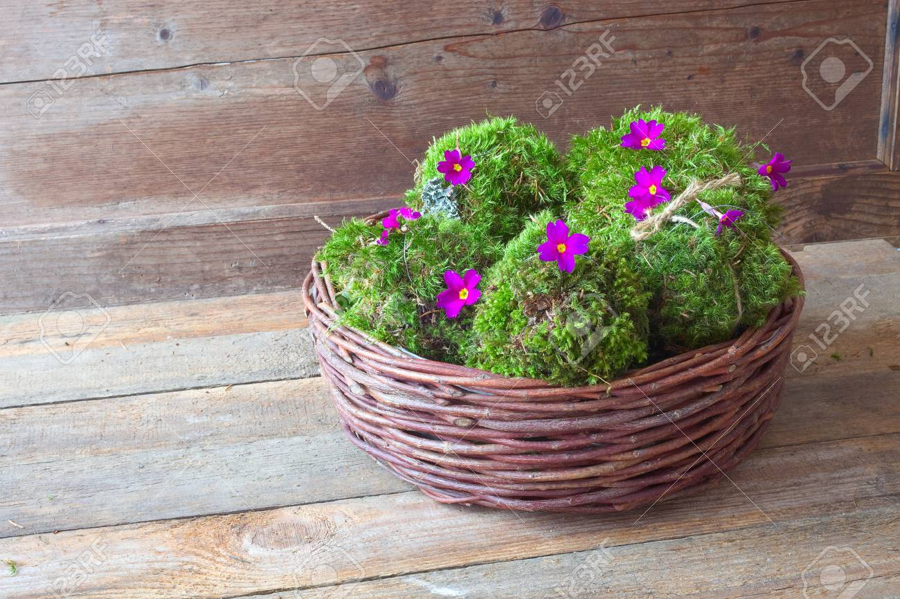Decorative Moss Balls In A Basket