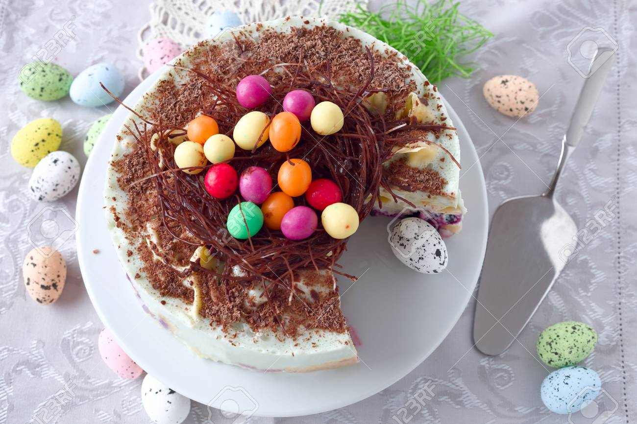 Chocolate Easter Egg Nest Pancake Cake Stock Photo Picture And