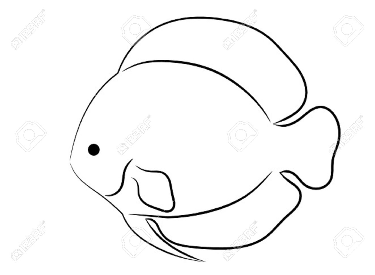 rounded tropical fish simple outline isolated on white background