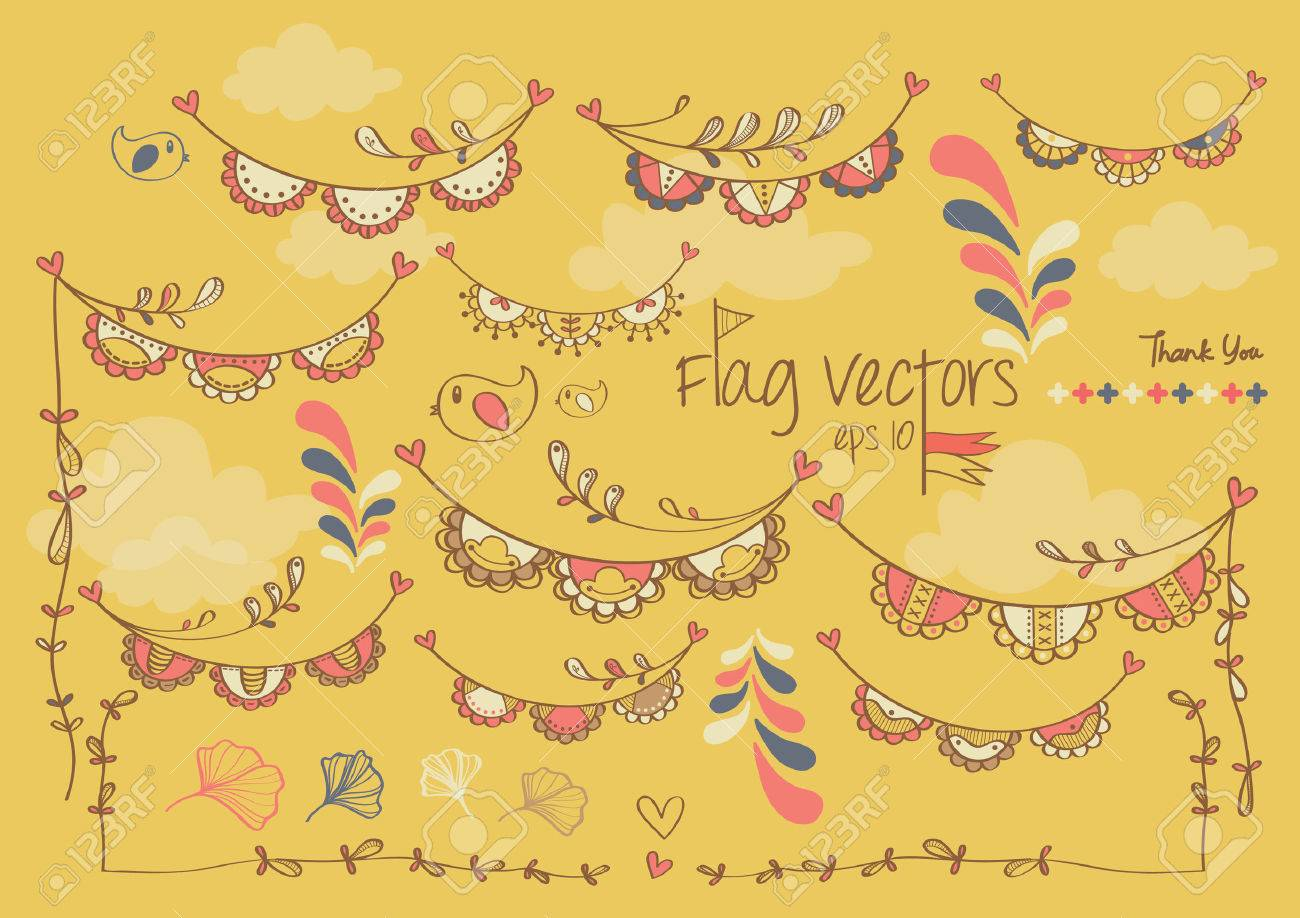 cute colorful flag banner ribbon for party decoration royalty free
