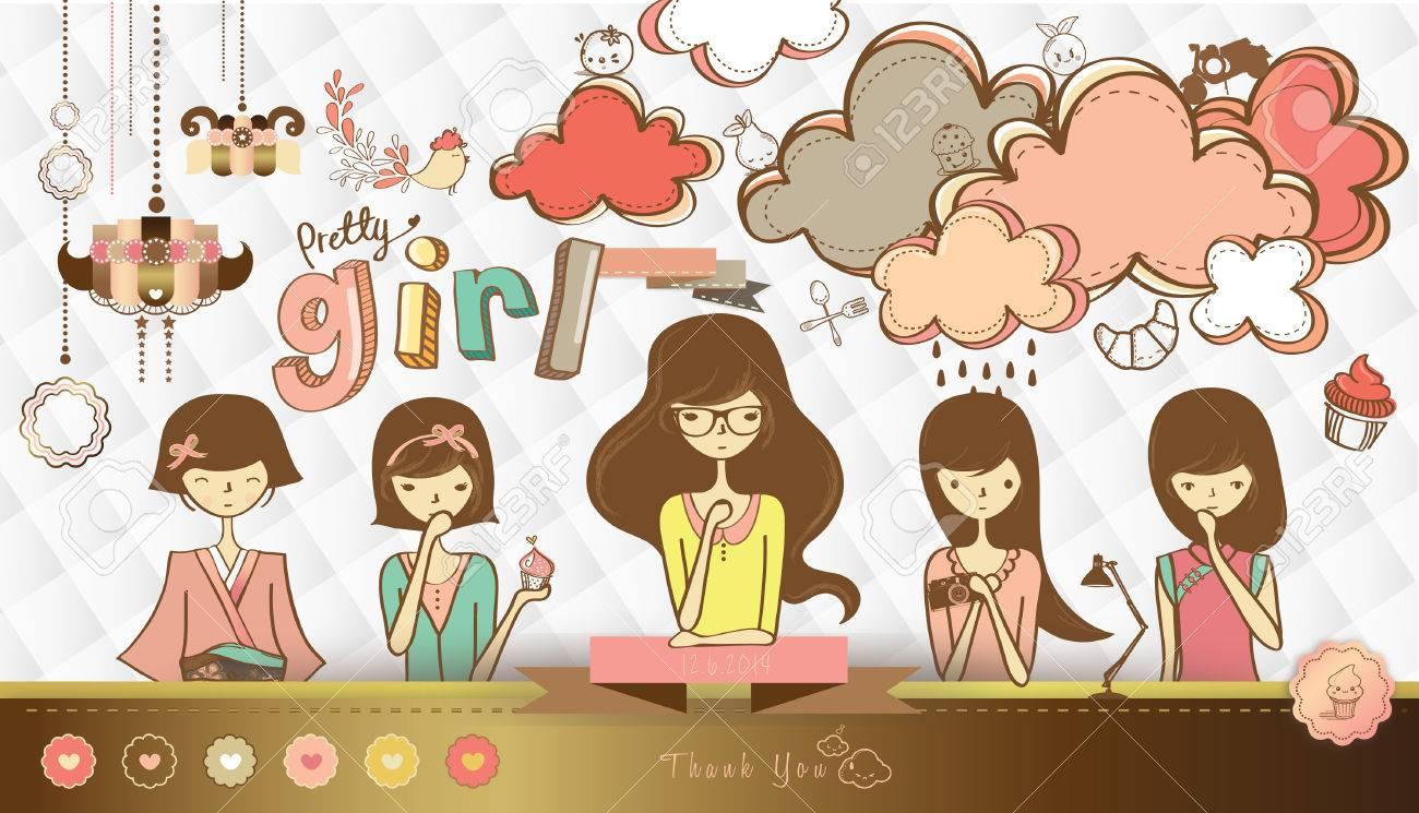 女の子イラストのかわいい図面の背景とのセット ロイヤリティフリー