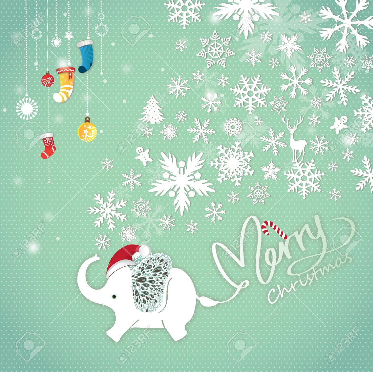 Cute Merry Christmas Background Decorative With Cartoon Elephant And Snow Flying Stock Vector
