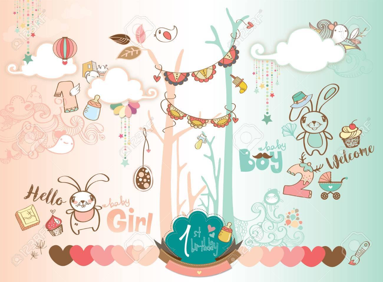 Cute Baby Boy Und Madchen 1 Geburtstag Feier Hintergrund Design