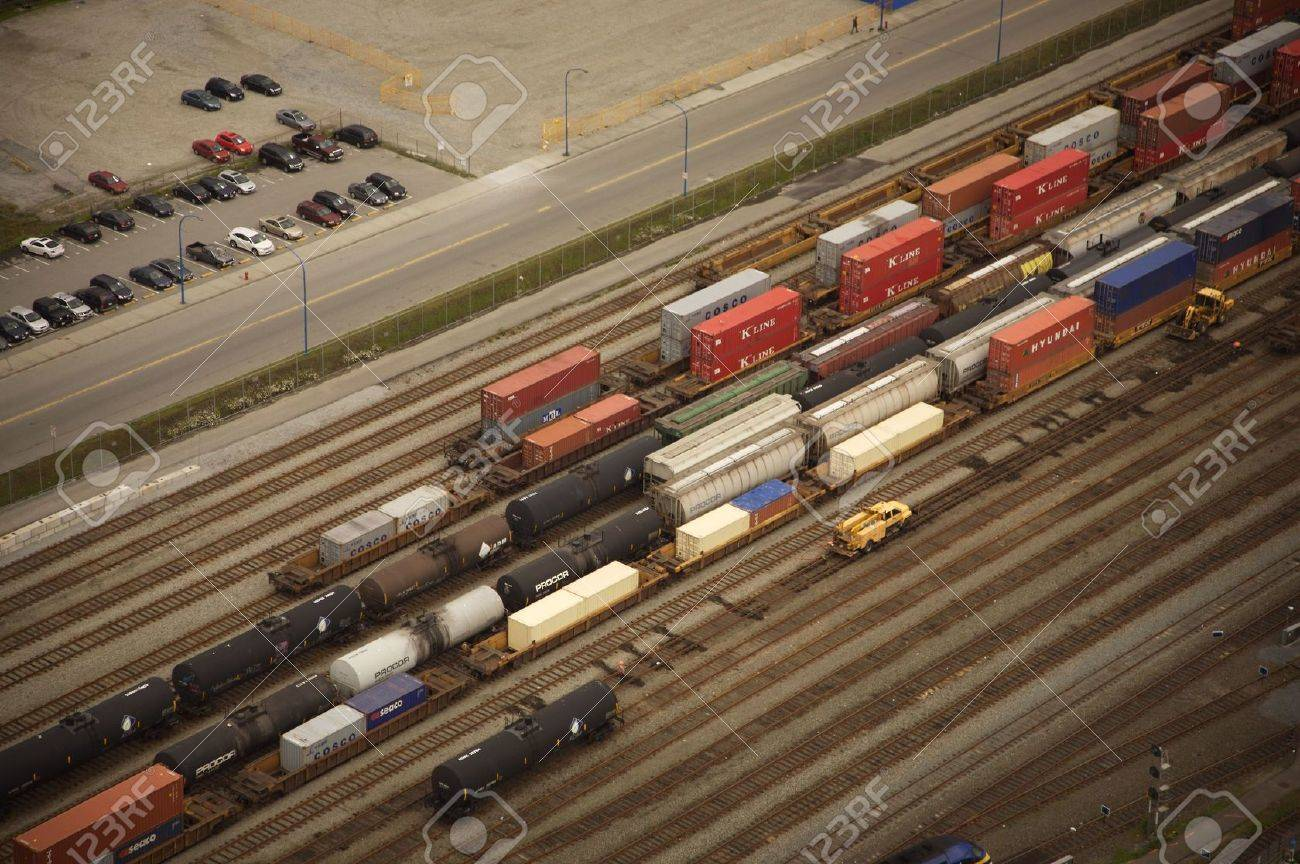 container train aerial view in downtown vancouver Stock Photo - 7112926