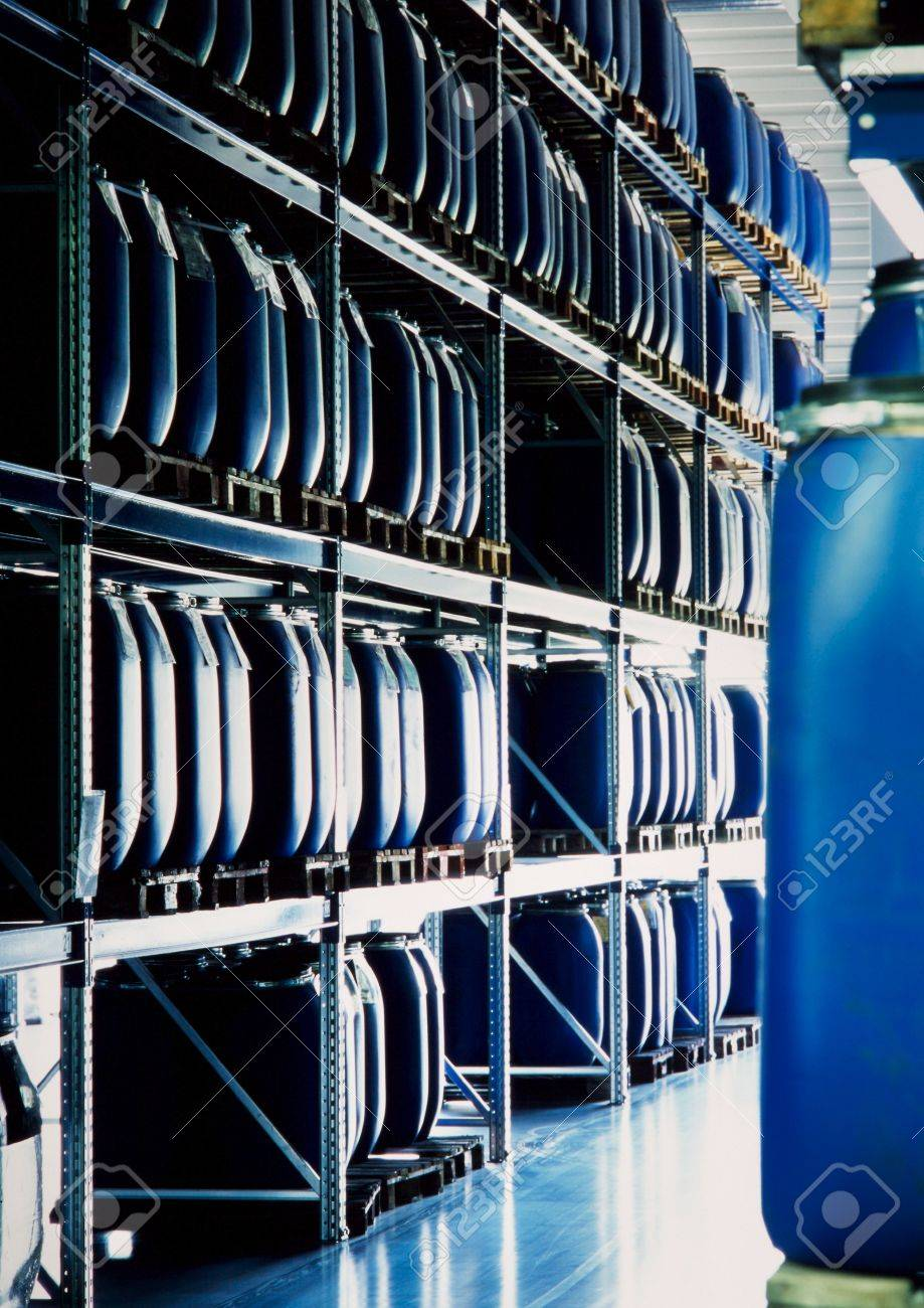 blue containers in an industrial storage warehouse Stock Photo - 7233892