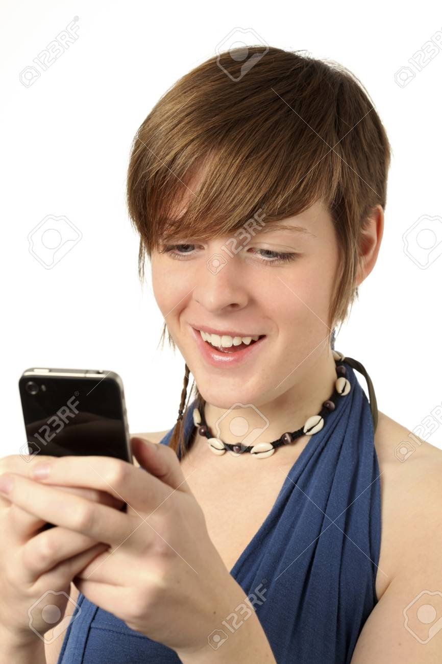 young woman looking at a message on a smart phone Stock Photo - 11431067