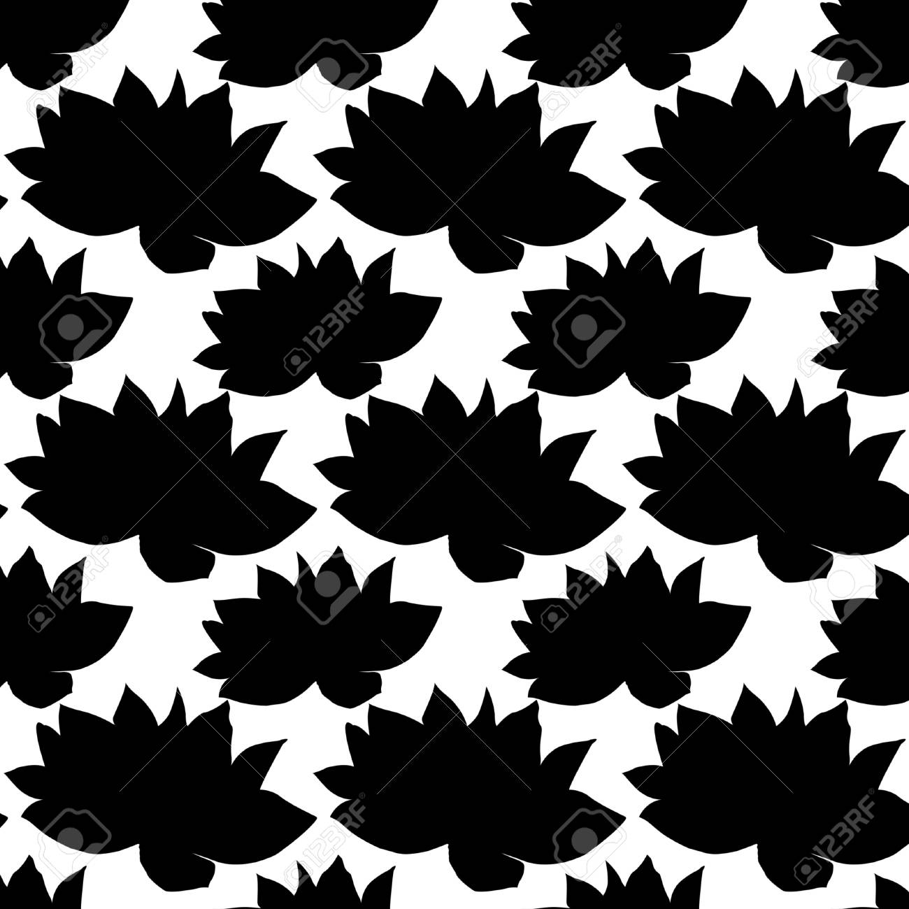 Seamless Pattern Flower Silhouette Indian Lotus Flowers Bright