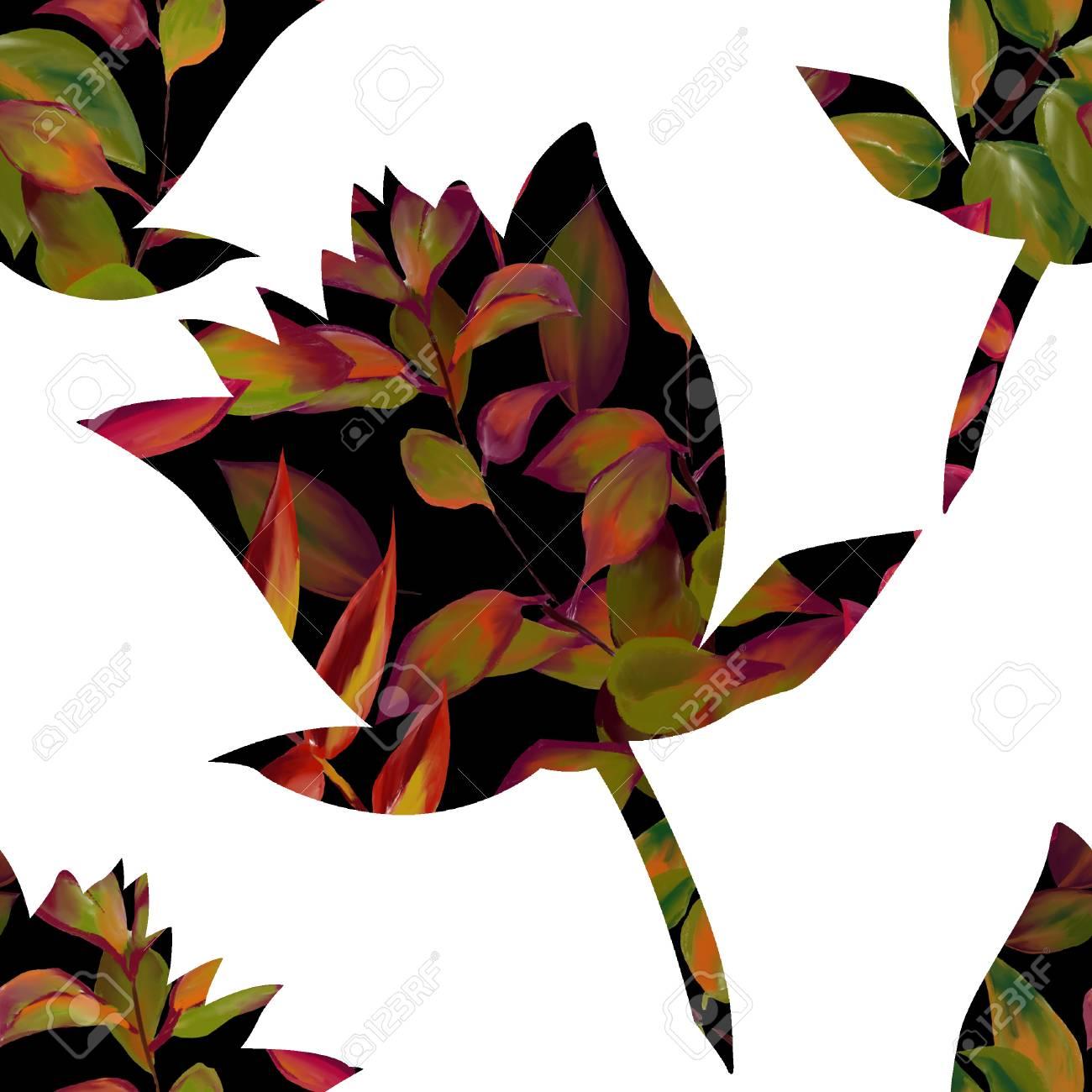 Seamless Pattern Flower Silhouette Indian Lotus Flowers Bright
