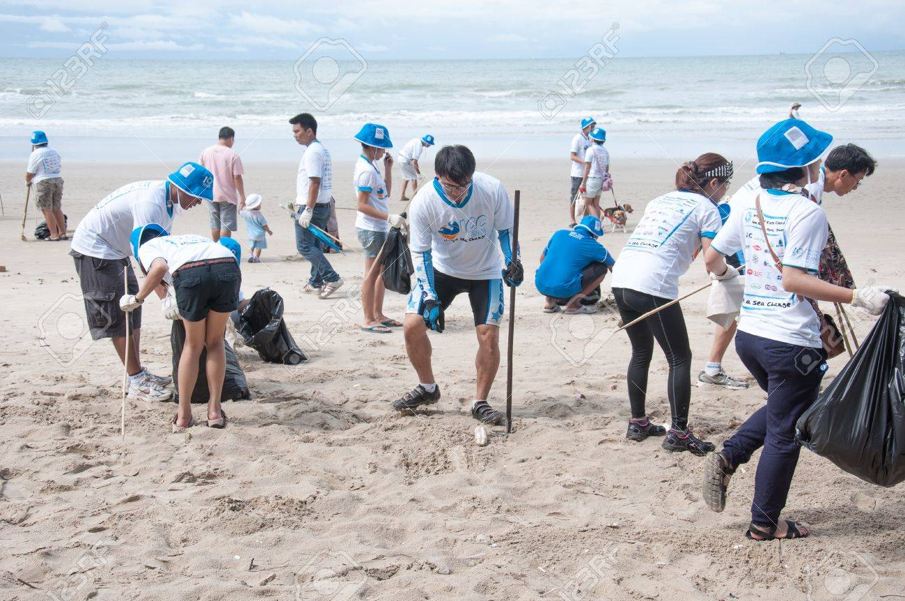 Rayong,Thailand: September 15 2012. People Cleaning Up The Coast.. Stock  Photo, Picture And Royalty Free Image. Image 15246958.