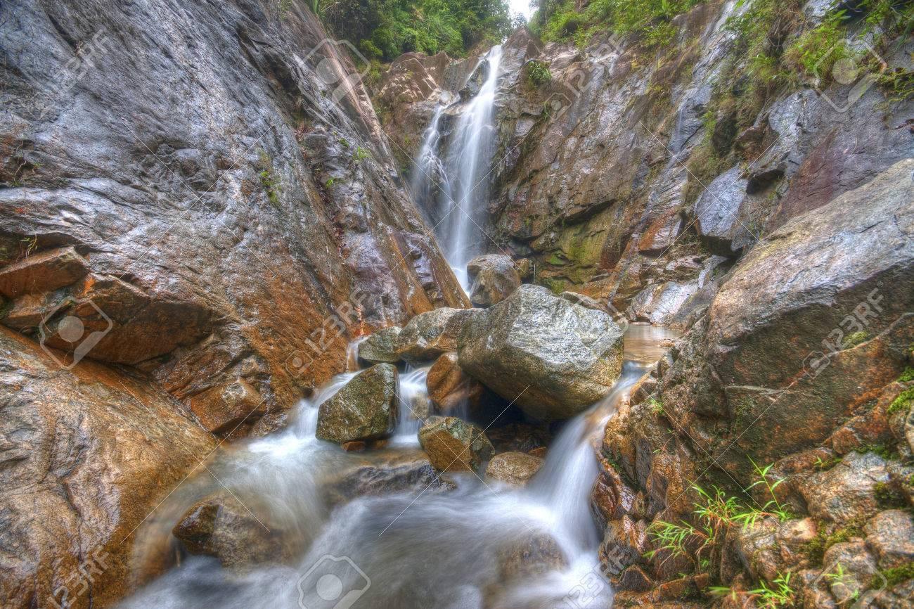 Beautiful Scenery Of Waterfall At Gunung Pulai Johor Malaysia In HDR Stock Photo