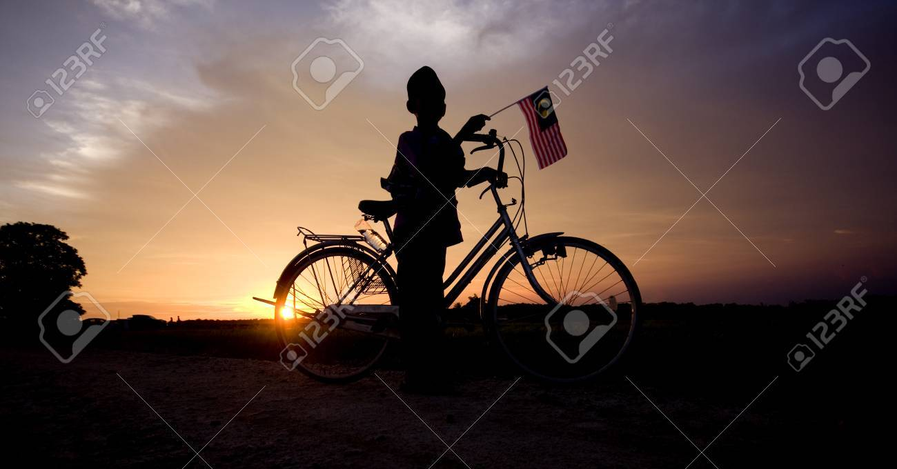 independence Day concept - Silhouette of young local boy on paddy field holding a Malaysian flag during sunset - 84154755