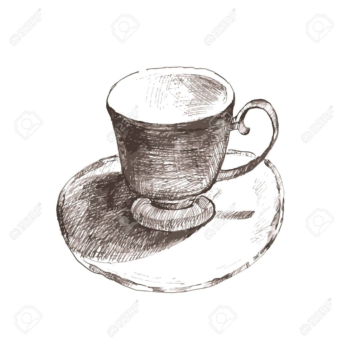Sketch Cup Elegant Cup And Saucer Retro Ceramics Cup Of Tea Royalty Free Cliparts Vectors And Stock Illustration Image 54550683