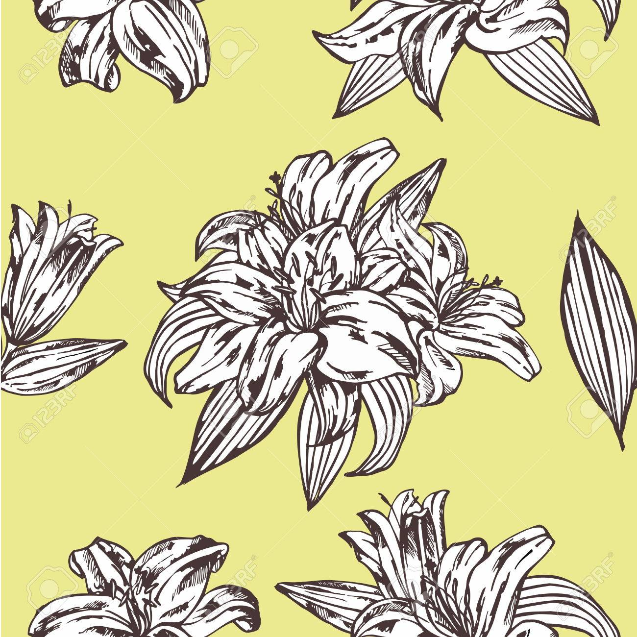 Seamless Vector Floral Pattern Royal Lily Flowers On A Yellow