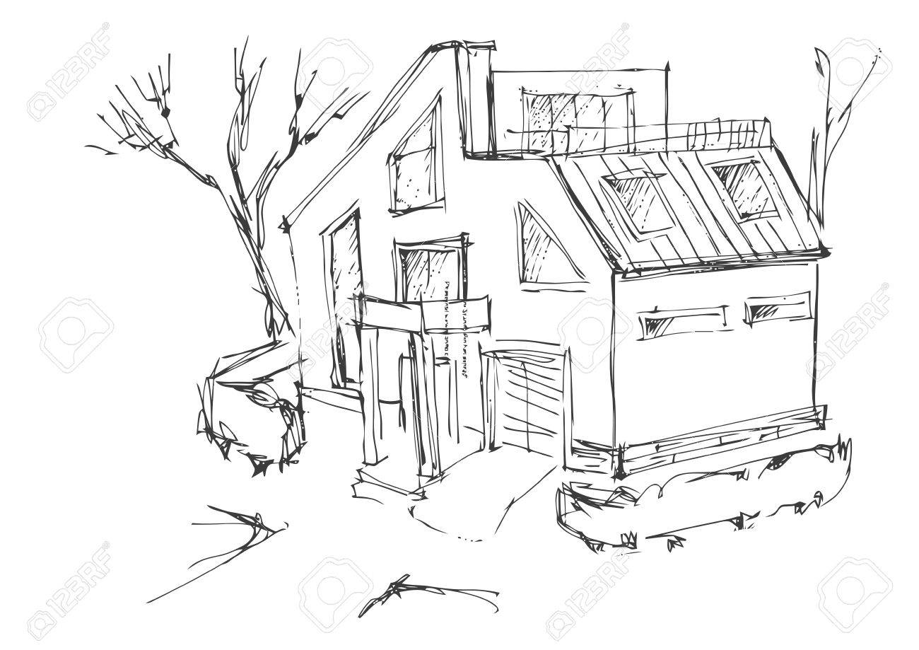 A Rough Sketch Of A Modern Home. Sketch Of The Cottage In The Country.