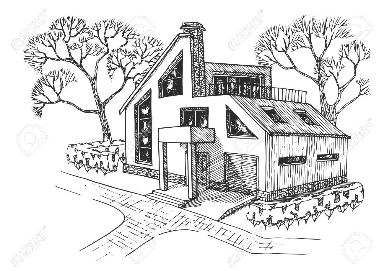 Modern house with garage attic and terrace cottage with landscaping hand drawing house