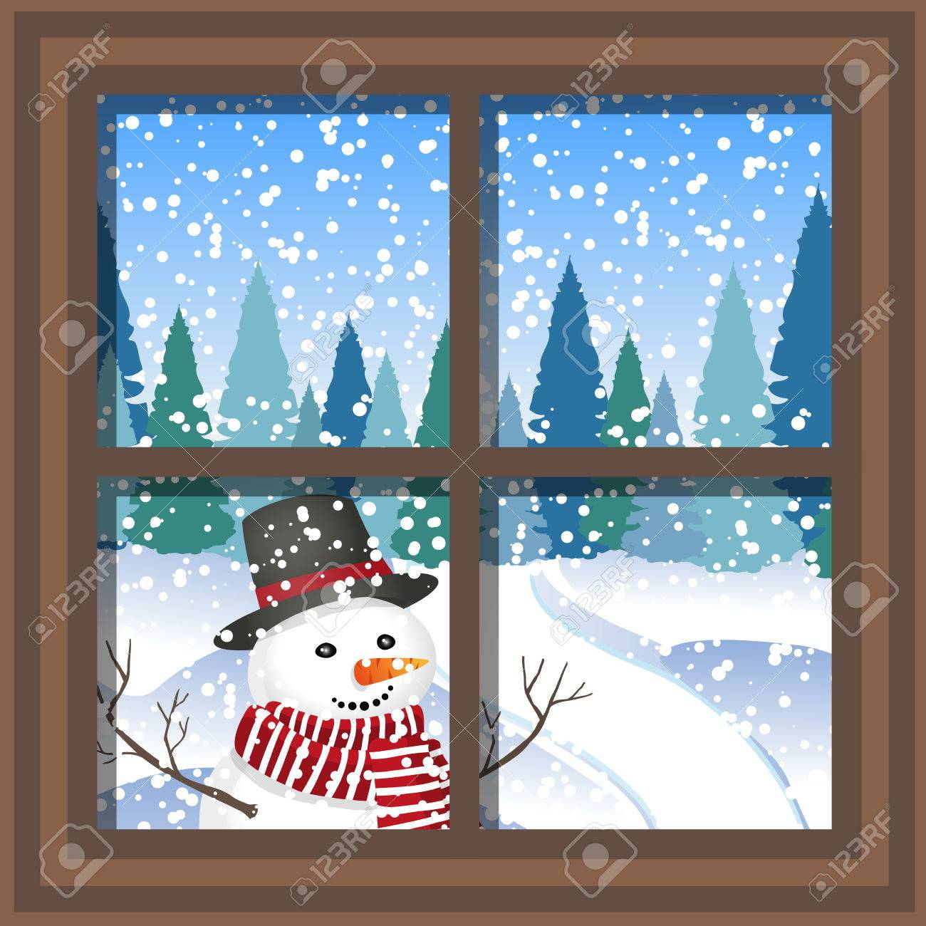 winter Christmas window with a view of the snowy forest. - 71713022