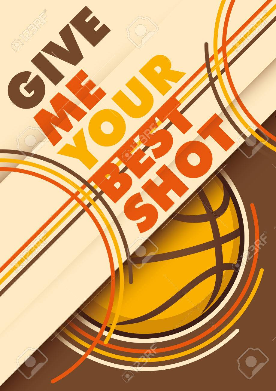 Illustrated Book Cover Vector ~ Illustrated basketball poster design with slogan royalty free
