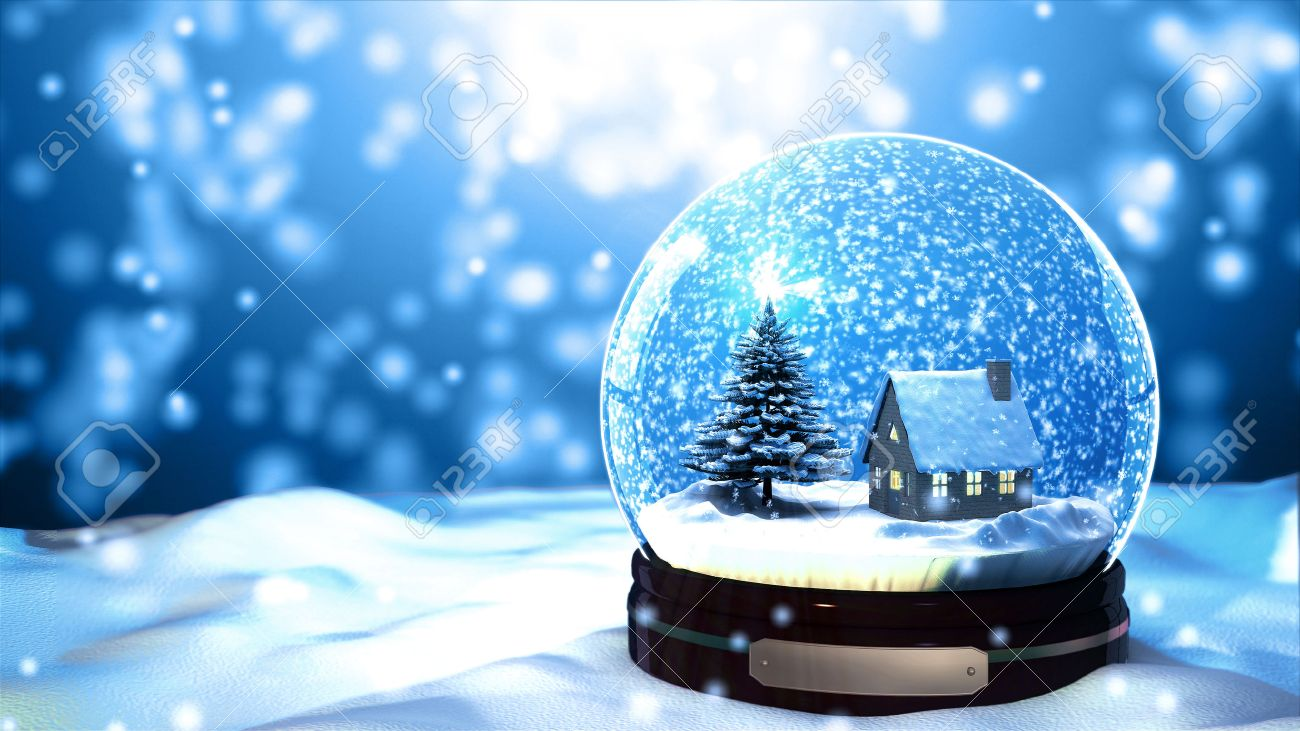 Christmas Snow.Christmas Snow Globe Snowflake Close Up