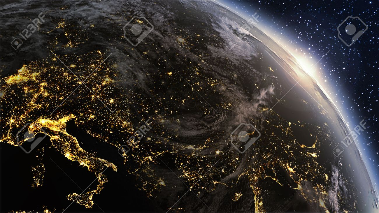 Nighttime pictures of earth from space