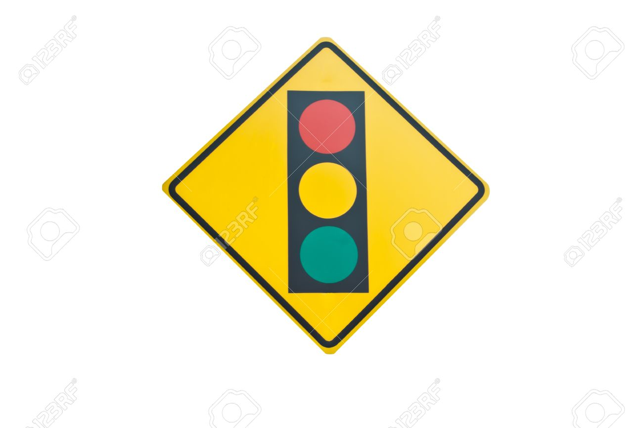 A Road Sign Warning Of A Traffic Light Ahead Stock Photo, Picture ...