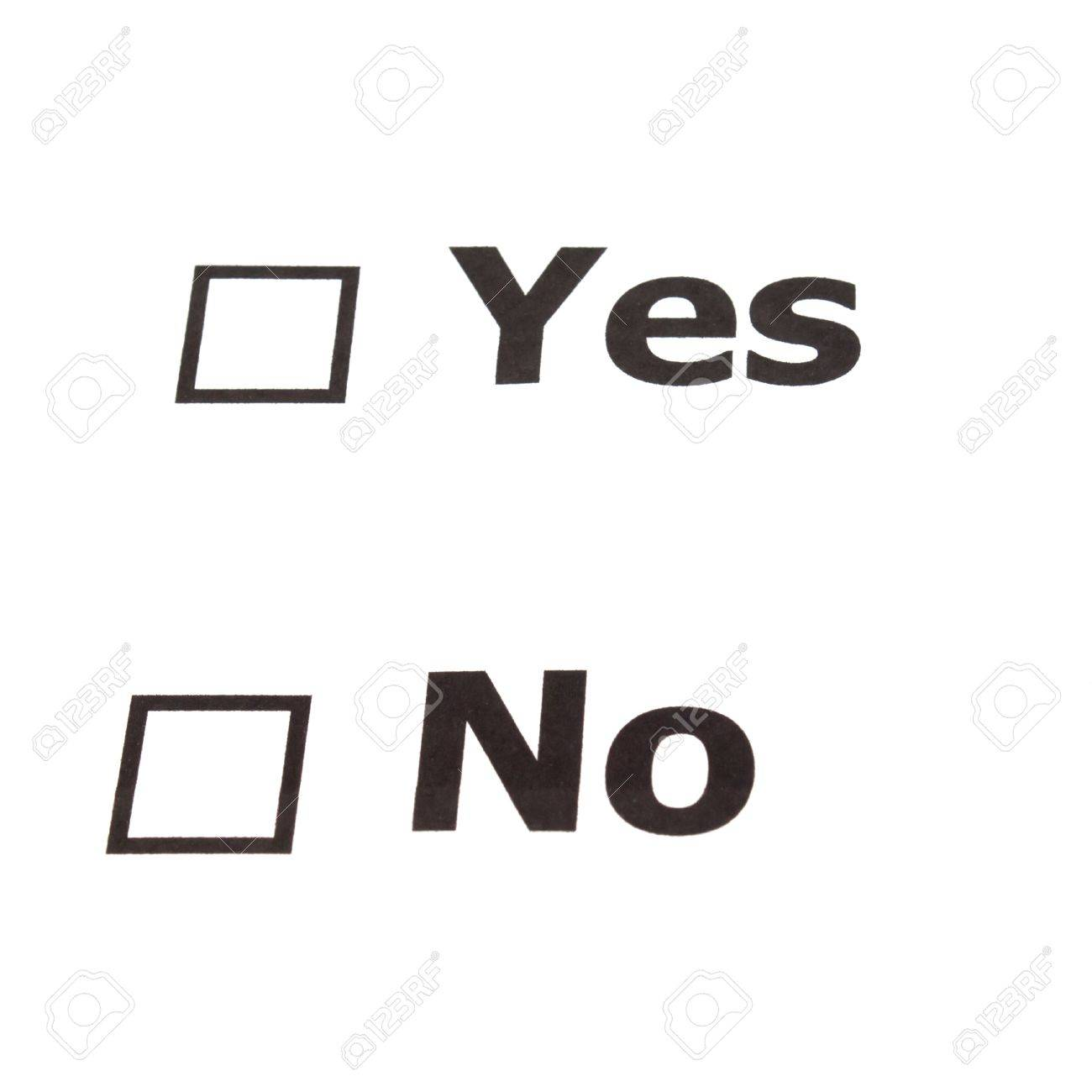 Yes No Check Boxes Stock Photo, Picture And Royalty Free Image ...