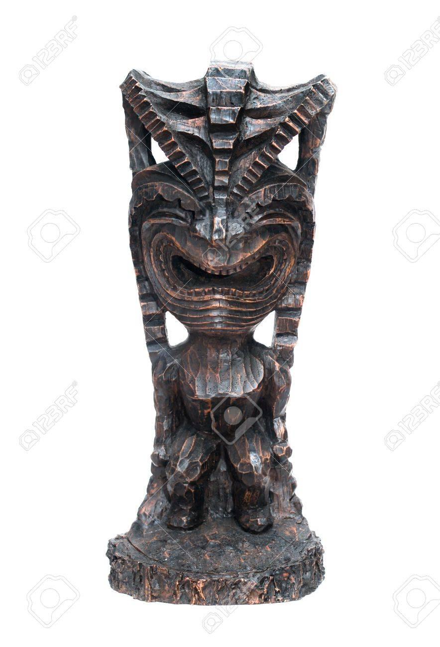an ancient deity of Hawaiian residents isolated on a white Stock Photo - 8363971