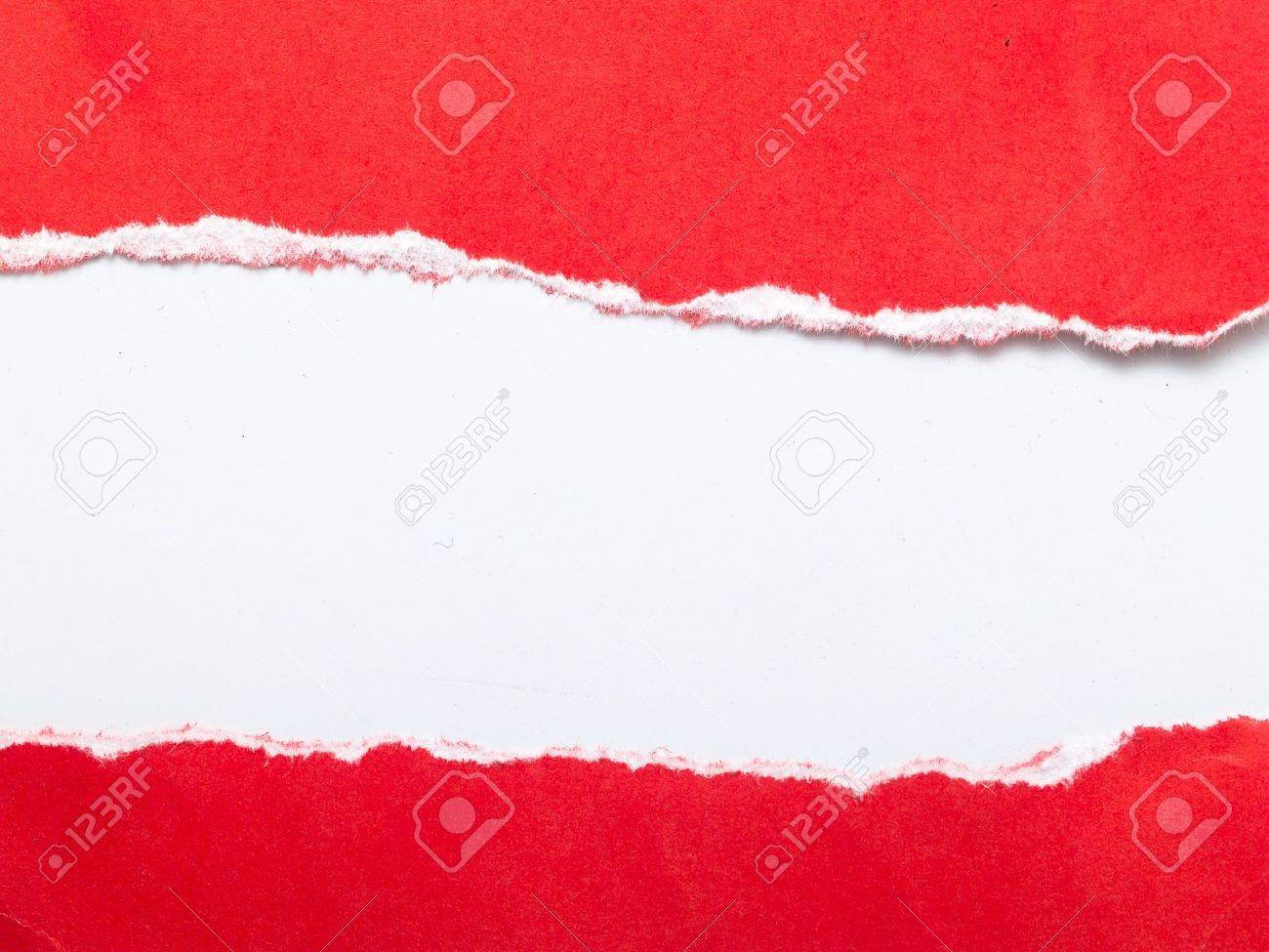 rip red paper and white background with space for text Stock Photo - 8571306