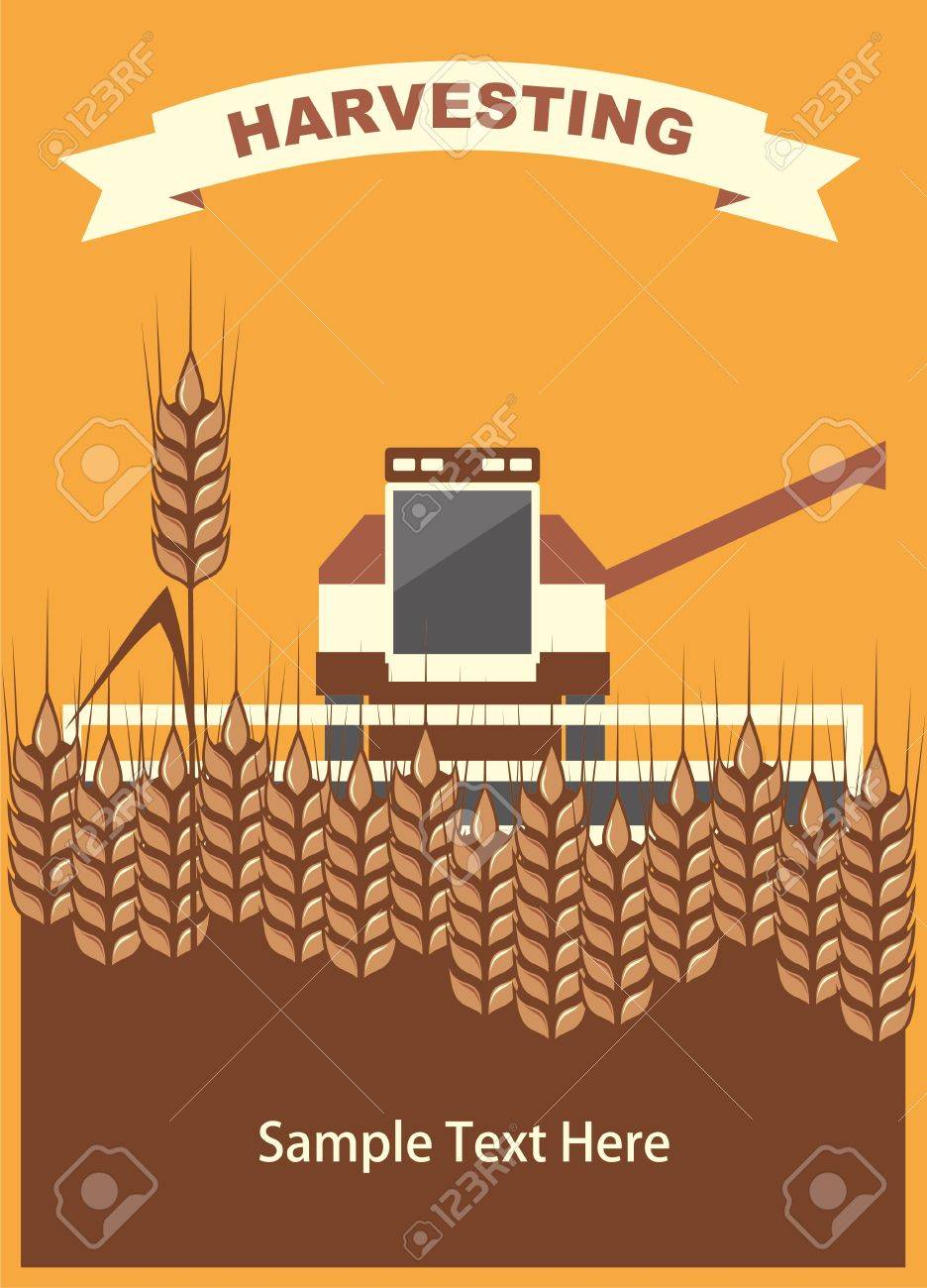 image harvester of cleaning wheat in the card with space for text, vector Stock Vector - 10084339
