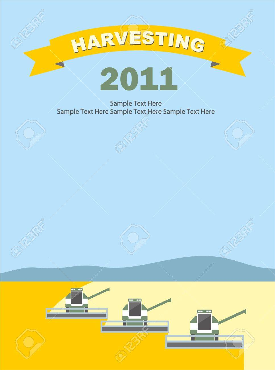 row of harvesters threshing wheat, vector Stock Vector - 10084334