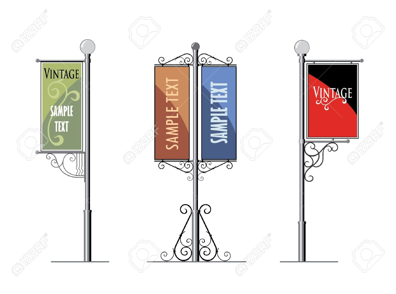wrought-iron street lamps with a sign for advertising, the vector Stock Vector - 12379268