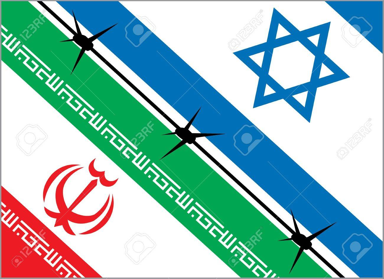 flags of Iran and Israel are separated by barbed wire Stock Vector - 13286631