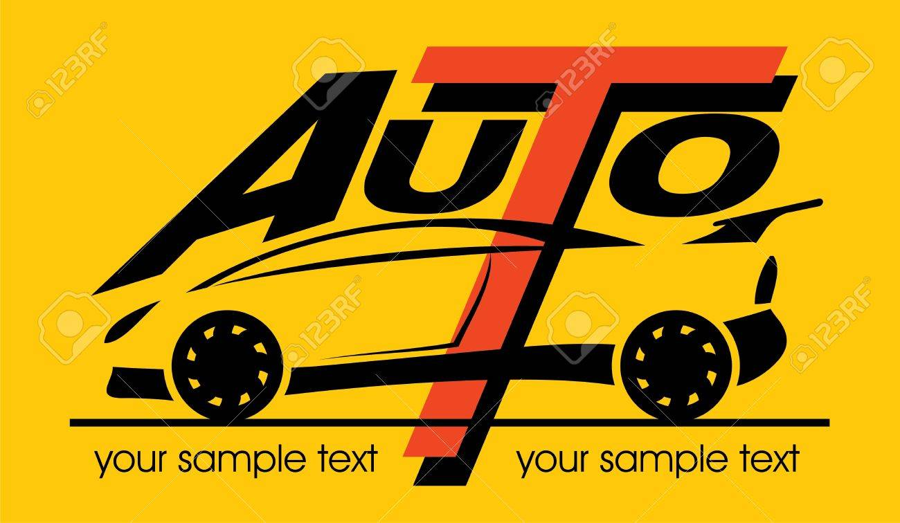 silhouette of sport car with the words - 15915068