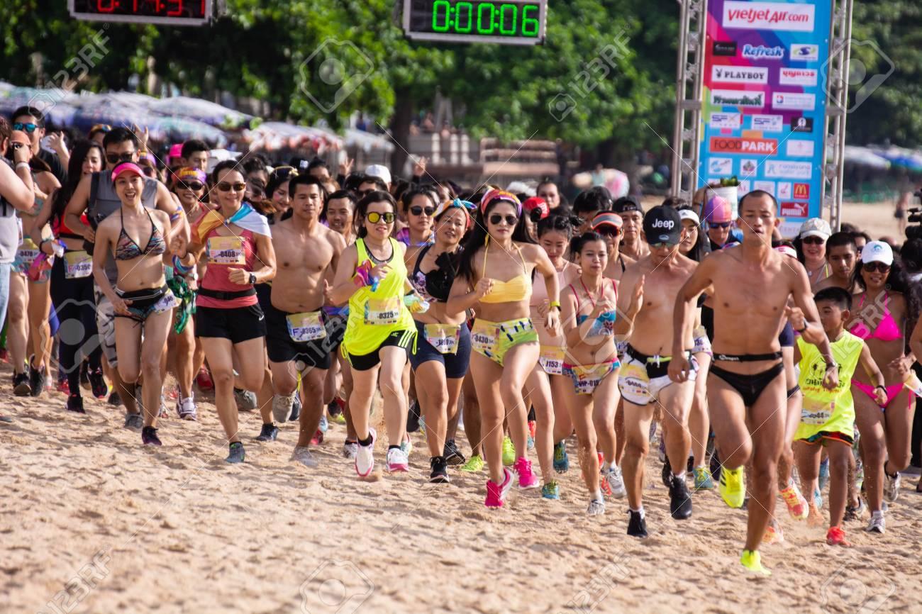 Pattaya, Thailand - May 19, 2018 - Young men and young girls