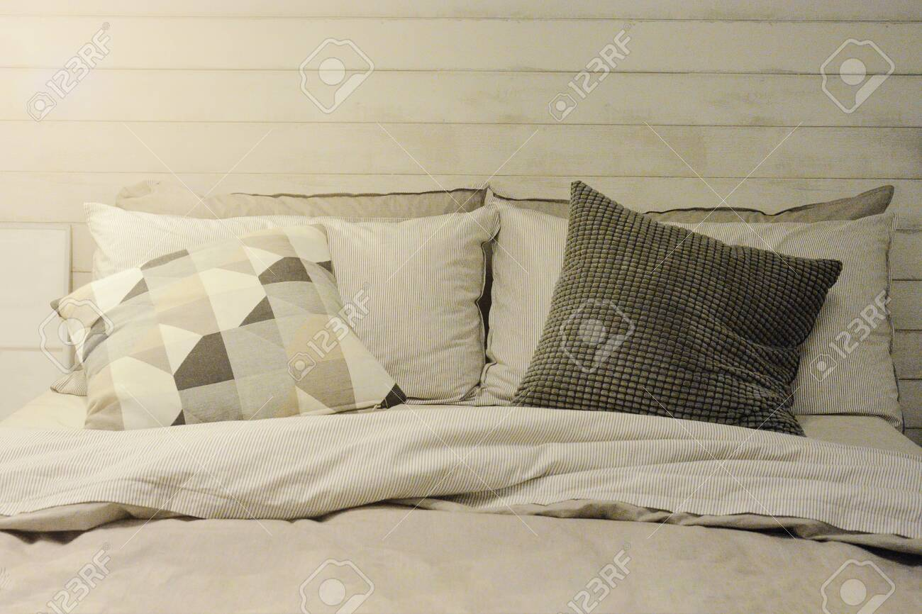 Pillow And Blanket On Bed In Vintage Wooden Bedroom With Lighting Stock Photo Picture And Royalty Free Image Image 128182865