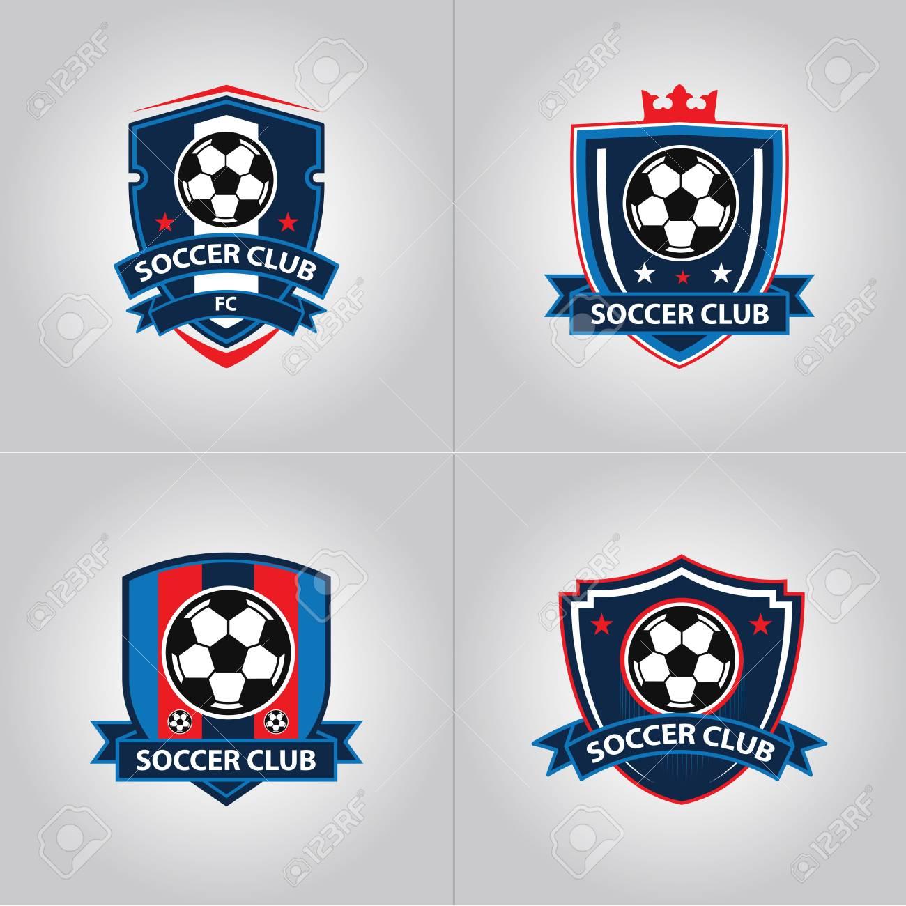 Soccer Football Badge Logo Design Templates | Sport Team Identity Vector Illustrations isolated on blue Background - 120477433