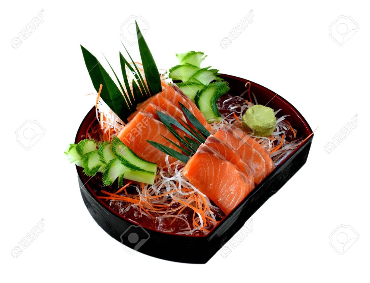 Fresh salmon sashimi  with vegetable Stock Photo - 10925742