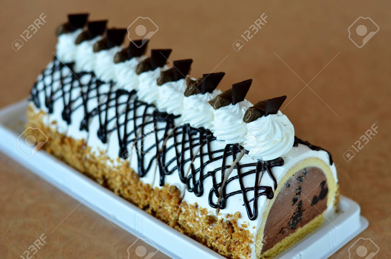 Chocolate Ice Cream Cake Beautiful Decorated Cake Stock Photo