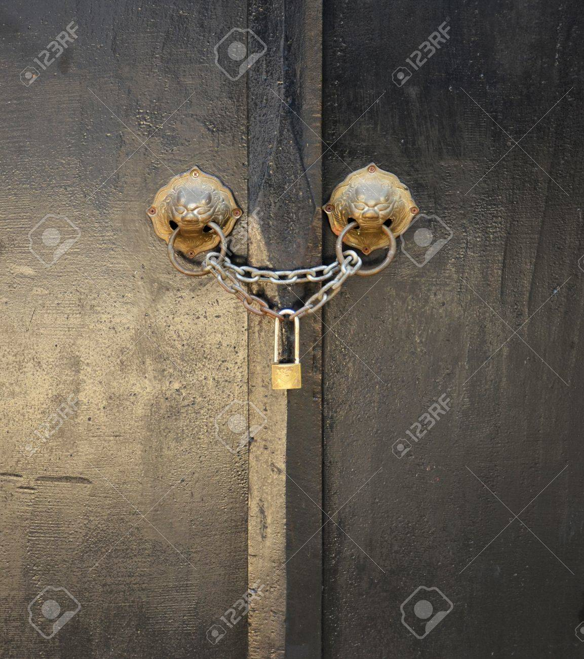 ... old wooden door with chain key lock stock photo picture and ... & 100+ [ Chain Door Locks ] | Amazon Com Lexpon Atomic Key Shutter ... Pezcame.Com
