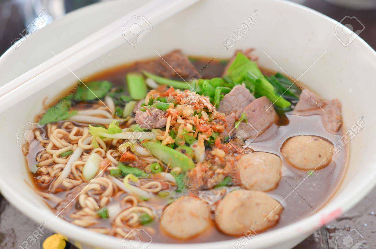 instant noodles and  meatball  with chopsticks , asian noodle Stock Photo - 14394663