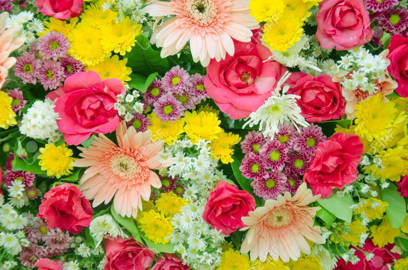 Colorful Of Fresh Flower Bouquet , Mixed Flora Stock Photo, Picture ...