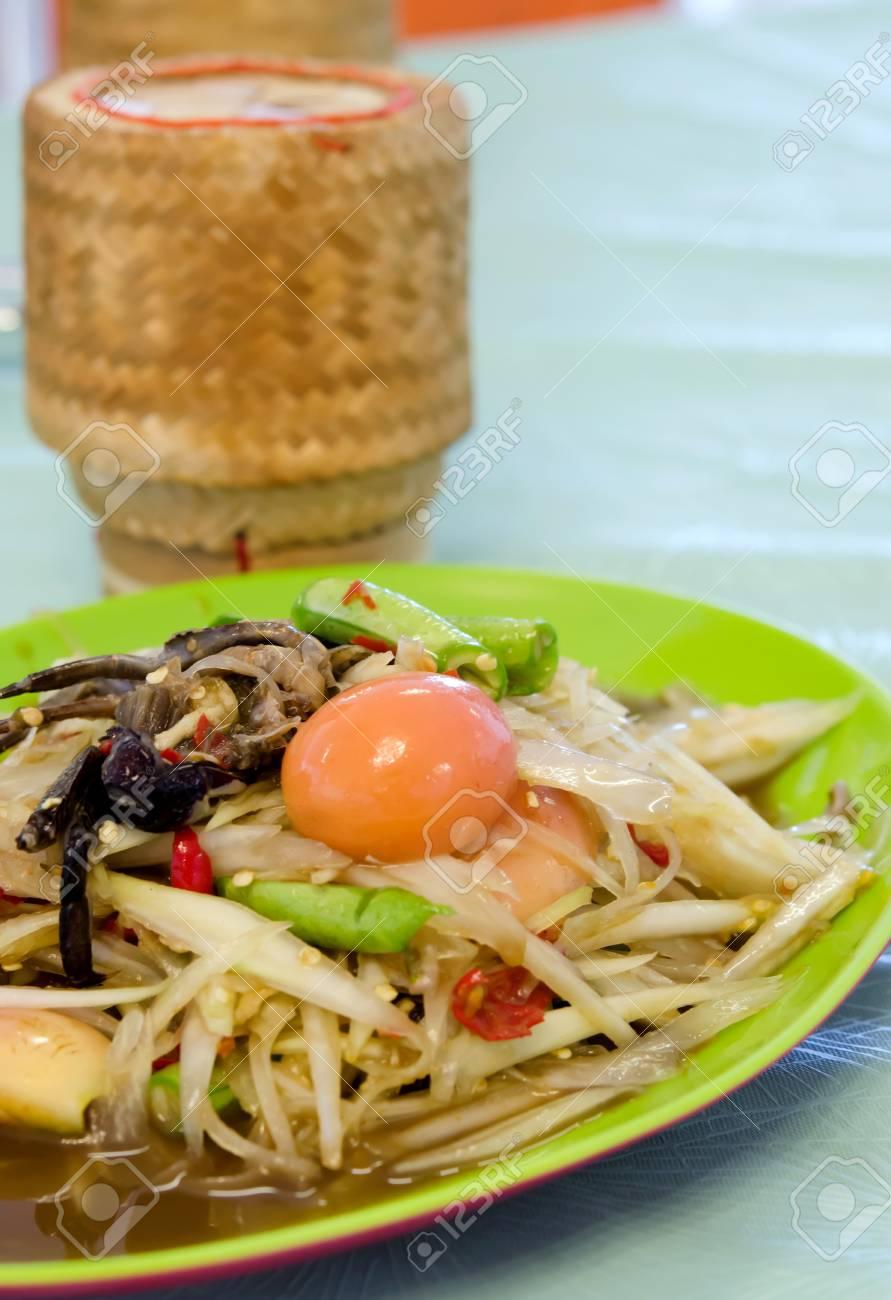 Thai spicy food, spicy papaya salad with crab Stock Photo - 21647936