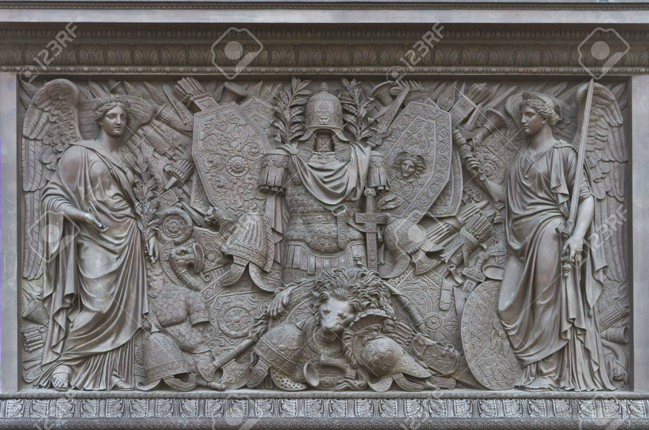 ST PETERSBURG, RUSSIA - SEP 11 A Bas-relief on the pedestal of the Alexander Column on Palace Square in St Petersburg, Russia on Sep 11, 2012 Stock Photo - 15347026