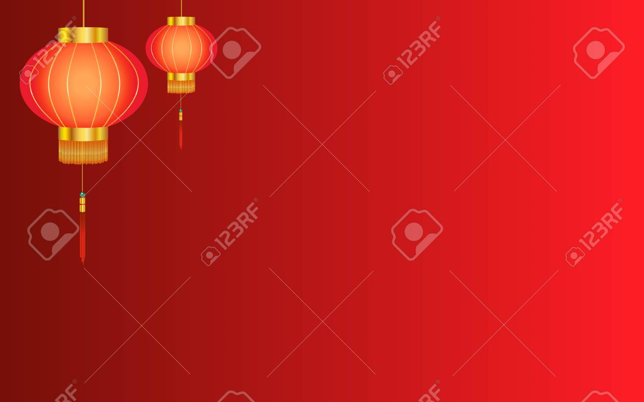 Red Linear Chinese Lantern Background Stock Vector