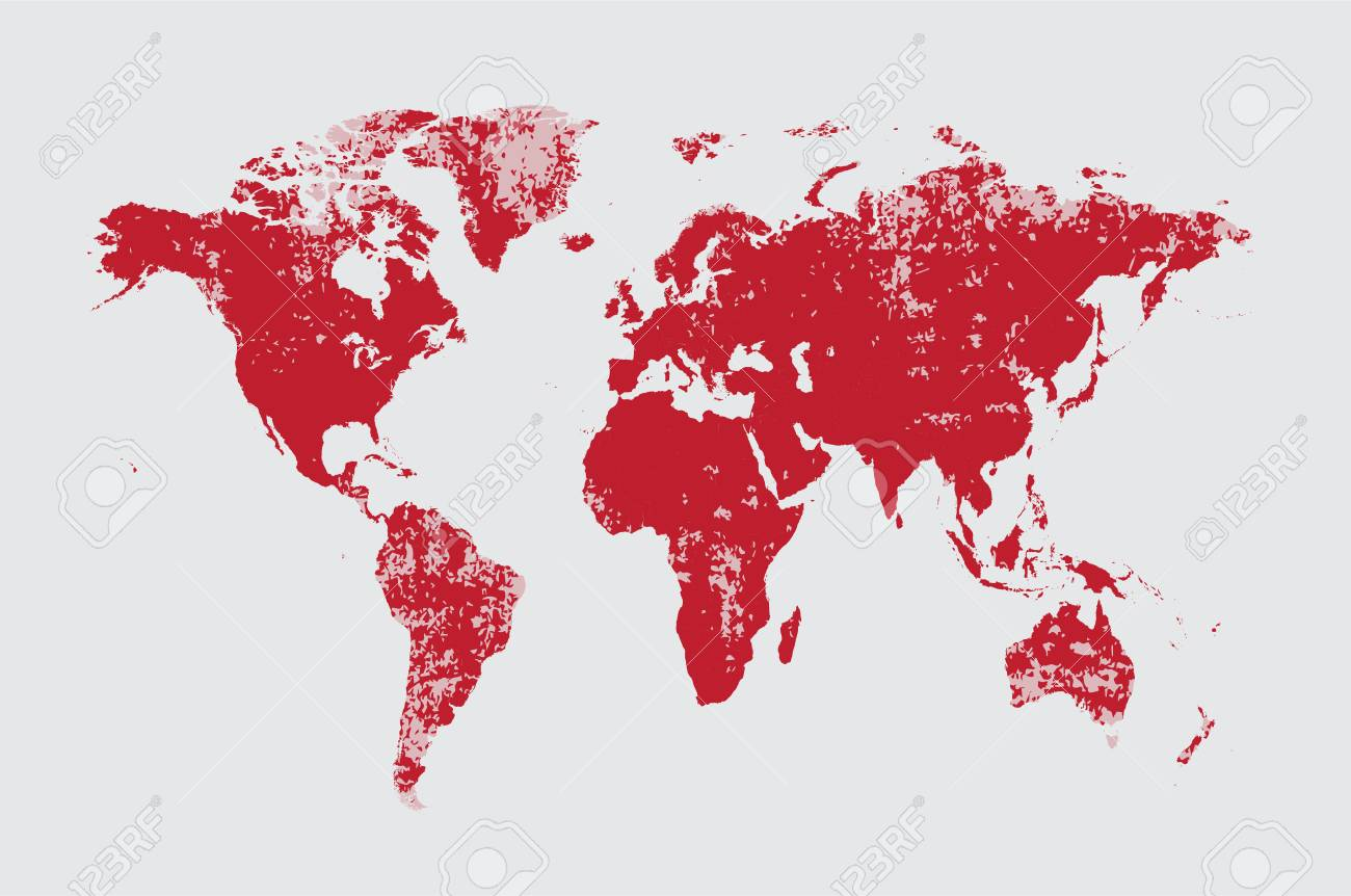 Grunge world map red vector royalty free cliparts vectors and grunge world map red vector stock vector 63154643 gumiabroncs Images
